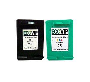 CARTUCHO DE TINTA HP 75 CB337WB COLORIDO 74 CB337WB PRETO | PHOTOSMART C4480 C4280 C5280  Compatíveis Ecovip