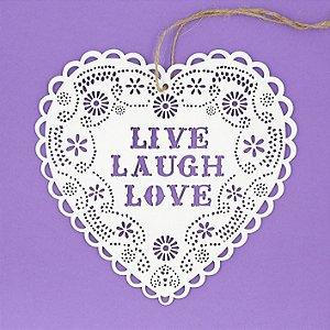 Enfeite Coração Madeira Romântico Doile Live Laugh Love