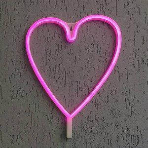Luminária Coração Neon Led de Parede USB e Pilha