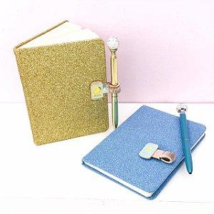 Kit Glam - Caderno glitter + caneta ponto de luz + clips caneta