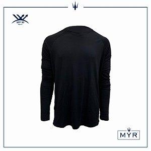 Camiseta UVSKIN manga longa preta palm