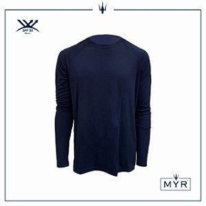 Camiseta UVSKIN manga longa azul marinho palm