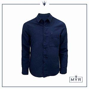 Camisa de linho azul marinho