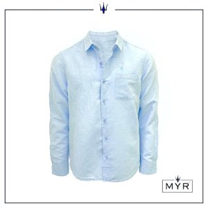 Camisa de linho azul clara