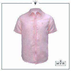 Camisa de linho rosa - manga curta