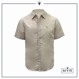 Camisa de linho bege - manga curta