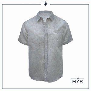 Camisa de linho cinza - manga curta