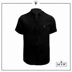 Camisa de linho preta - manga curta