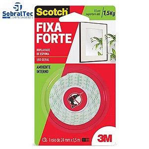 Fita Dupla Face 3M Scotch Fixa Forte Espuma 24 mm x 1,5 m