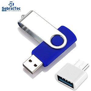 Pen Drive  64GB USB 2.0 Com Adaptador Tipo C - Azul