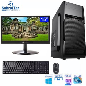 Computador Core i3-2120-HD SSD 128GB -Memória Ram 4GB- Com Monitor 15, HDMI- Teclado e Mouse e Estabilizador