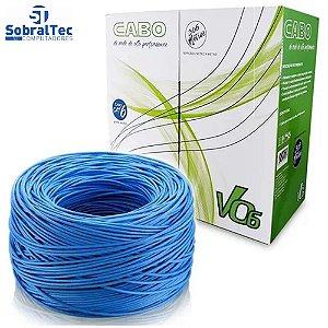 Caixa de Cabo Rede 23AWG Cat.6 4 Pares UTP/CFTV MK2 V06 Tecno 1000Mbps Azul