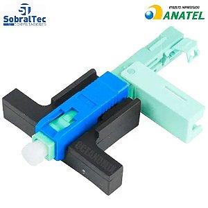 Conector Óptico Tipo Fast com trava One Click Sc/Apc Azul