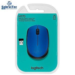 Mouse sem fio Logitech M170 com Design Ambidestro Compacto, Conexão USB e Pilha Inclusa - Azul