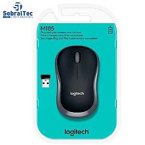 Mouse sem Fio Logitech Óptico 1000DPI M185 - 3 Botões Cinza