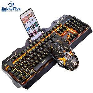 Kit Gamer Teclado E Mouse Preto Com RGB Led Golden Wolf V2