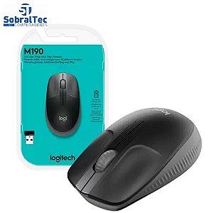 Mouse Sem Fio Logitech Óptico 1000DPI 3 Botões - M190 Preto