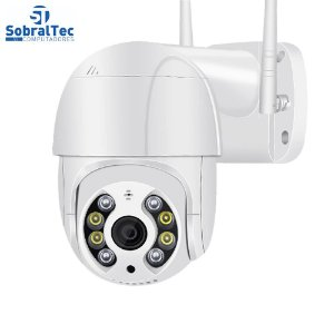Câmera IP Mini Speed Dome WI-FI Externa 5MP Com Cartão SD 64GB -Alerta De Duas Vozes- Detecção Humana Áudio Visão Noturn