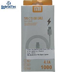 Cabo De Dados USB Para USB Tipo C 4,1A  Lightning