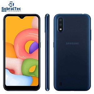 "Smartphone Samsung Galaxy A01 32GB Azul Octa-Core - 2GB RAM Tela 5,7"" Câm. Dupla + Câm. Selfie 5MP"