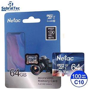 Cartão Micro SD Netac 64Gb 100Mb/s De Leitura