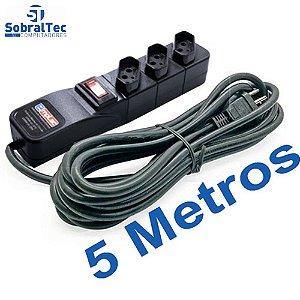 Protetor Eletrico Rearme Premium 3 Tomadas Com Cabo de 5 Metros - Emplac