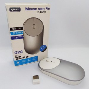 Mouse Sem Fio Knup G22 Alcance 10m 1200 Dpi 2,4ghz - Prata