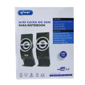 Caixa De Som Para Notebook Pc P2 12W 40Ohms Usb 2.0 Knup KP-7024