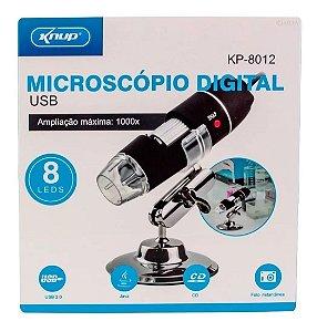 Microscópio Digital Usb 1000x Hd 8 Leds Kp-8012 Knup