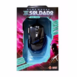 Mouse Gamer Soldado 3000dpi USB Gm-700 Preto 7 Cores Luz De Led Metal
