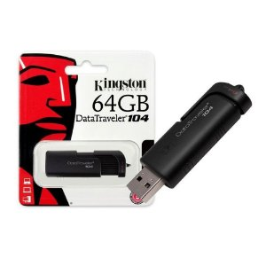 Pendrive Kingston 64gb Dt104 Usb 2.0 Preto Datatraveler Giga