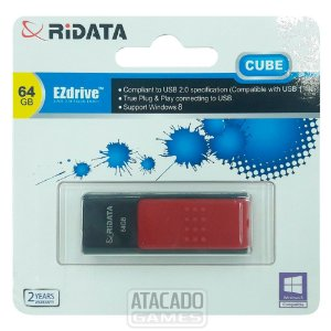 Pendrive Ridata EZdrive Cube 64GB USB 2.0 - Preto/Vermelho