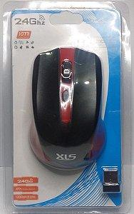 Mouse Wirelles XLS Vermelho 2.4Ghz 1200DPI