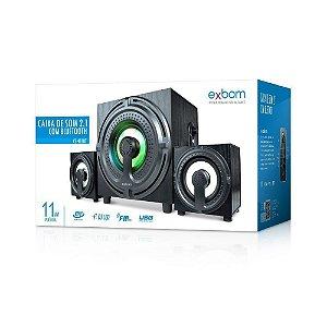 Caixa De Som 2.1 Usb Bluetooth 11w Rms Amplificada -CS401BT Exbom