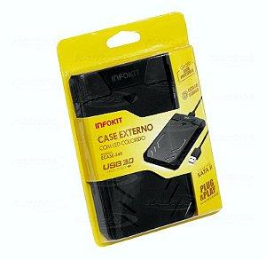 Case Externo Para Hd 2.5 Com LED Colorido Ecase-340 USB 3.0 Infokit Com Capa Protetora Brind
