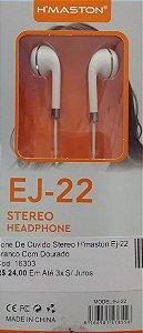 Fone De Ouvido Stereo H'maston Ej-22 Branco Com Prata
