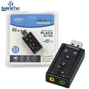 Placa De Som Ext. Usb - SKNUP - HB-T64 Som Virtual 7.1 E Microfone