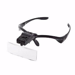 Óculos Lupas Trocavéis De 1.0x Até 3.5x Com 2 Leds 9892B