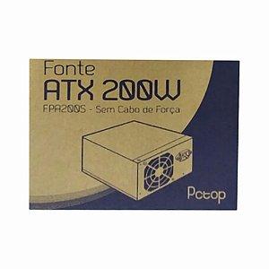 Fonte Atx Pctop 200w FPA200S Sem Cabo De Força Bivolt Chaveada 50-60Hz