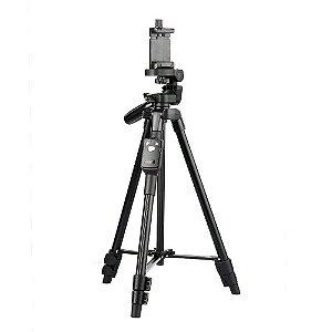 Tripé Ajustável Para Celular E Câmera Yunteng VCT5208 Com Controle Bluetooth