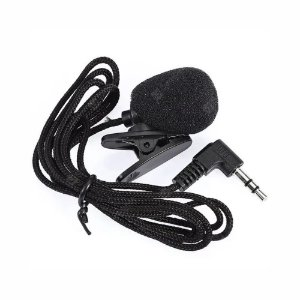 Microfone De Lapela 30Hz-15000Hz 3.5mm Com Clipe Preto Conector P2