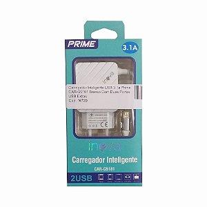 Carregador Inteligente USB 3.1a Prime CAR-G5181 Branco Com Duas Portas USB Extras
