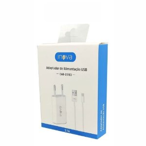 Carregador USB Iphone 5V 2.1A Com Cabo Lightning Separado Box Branco Inova CAR-G5163