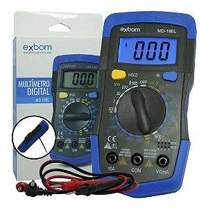 Multímetro Digital Portátil LCD de 3 ½ Dígitos Exbom MD-180L - MD-180L