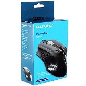 Mouse Usb Sem Fio 1600dpi Preto Multilaser MO-264
