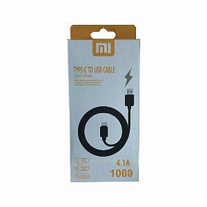 Cabo Usb Tipo C 4.1A Para Carga e Dados 1 Metro Quick Charge Xiaomi