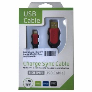 Cabo Iphone 1.5m 5FT Charge KS-U505 Sync Cable Colorido