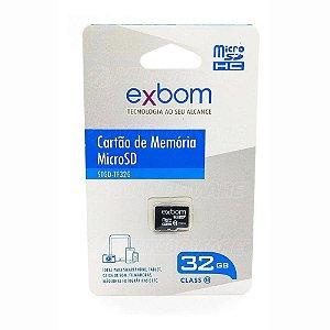 Cartão De Memória 32Gb Micro-SD Gravação 10MB/s Leitura 15MB/s Exbom STGD-TF32G