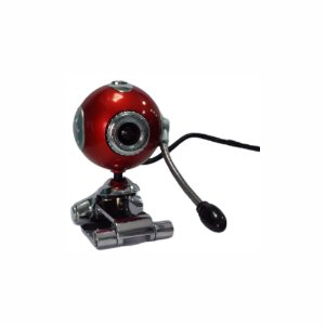 Webcam Usb 2.0 Com Microfone Redonda Vermelha Com Prata Foco Ajustável