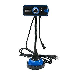 Webcam Pc Zoom Digital 3.85 Com Microfone Usb 2.0 Foco Manual Azul Quadrada